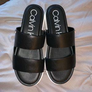 NWOT Calvin Klein Leather Strap Sandals